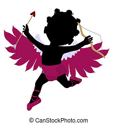 Little African American Cupid Girl Illustration Silhouette -...