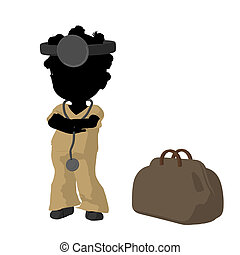 Little African American Doctor Girl Illustration Silhouette...