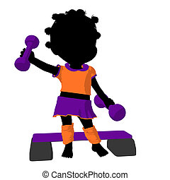 Little African American Exercise Girl Illustration Silhouette