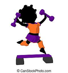 Little African American Exercise Girl Illustration Silhouette