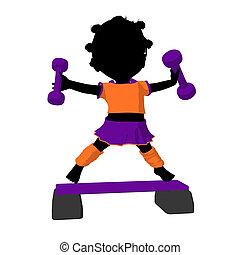 Little African American Exercise Girl Illustration...