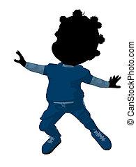 Little African American Football Girl Illustration...