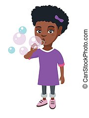 Little african-american girl blowing soap bubbles.