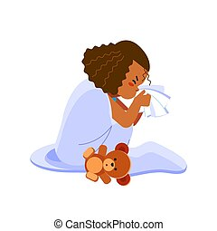 Little african american girl has flu, child sneezes into a handkerchief. Sick child girl sitting in bed with toy bear and blowing her nose, feel so bad with fever. Cartoon vector illustration.