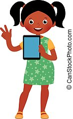 Little African American girl in full growth holds a computer tablet in her hand