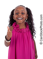 Little african american girl making thumbs up gesture - Black pe