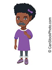 Little african-american girl with a fake mustache. - Little...