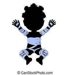Little African American Mummy Girl Illustration Silhouette