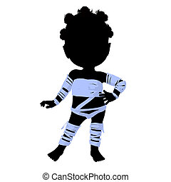 Little African American Mummy Girl Illustration Silhouette
