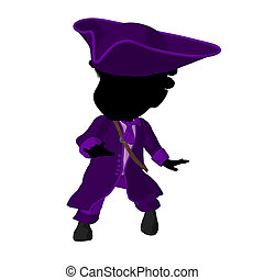 Little African American Pirate Girl Illustration Silhouette...