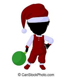 Little African American Santa Girl Illustration - Little...