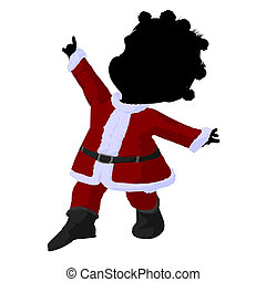 Little African American Santa Girl Illustration Silhouette -...