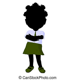 Little African American School Girl Illustration Silhouette
