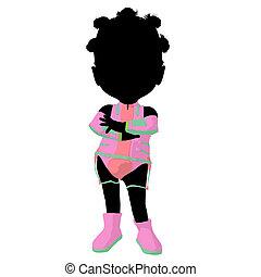 Little African American Sci Fi Girl Illustration Silhouette...