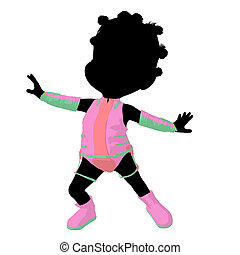 Little African American Sci Fi Girl Illustration Silhouette