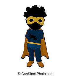 Little African American Super Hero Girl Illustration...
