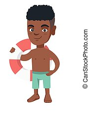 Little african boy holding a red-white lifebuoy.