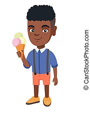 Little african boy holding an ice cream cone.