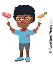 Little african boy holding fresh carrot and steak.