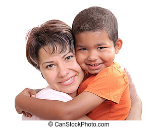 Little African boy in adoptive mothers arms