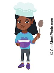 Little african girl holding a saucepan and a spoon