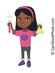 Little african girl holding test tube and beaker.