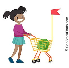 Little african girl walking with shopping cart.