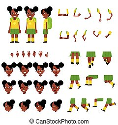 Little african schoolgirl creation set - cartoon character of female child with backpack.