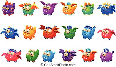 Little Alien Monsters With And Without Wings Set Of Bright...