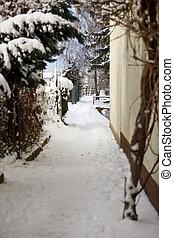 Little Alley In Winter Village, Germany - A footpath in a...