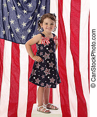 Little American Girl with Flag