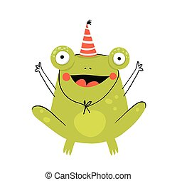 Little amusing and funny cheerful Frog character congratulation wearing party hat doodle cartoon design.