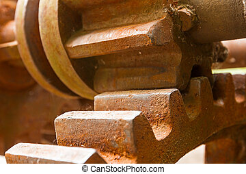 Little and big rusty gears.