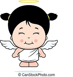 A cartoon little angel smiling and happy.