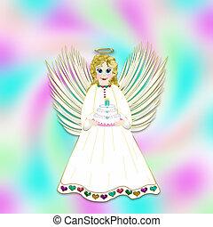 Little Angel Holding Birthday Cake, Illustration