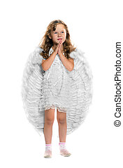 Little angel on a white background