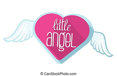 Little angel vector lettering for girl t-shirt design