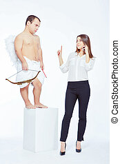 Little angel with a bow and businesswoman - Business vs love...
