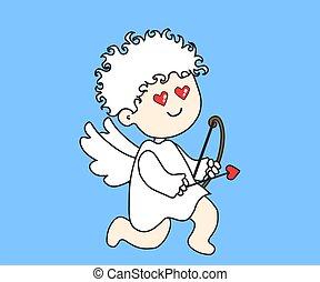 Little angel with bow and arrow. Cartoon. Vector