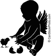 Silhouette angel with wings and Easter chick