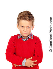 Little angry kid with red jersey