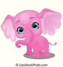 Little animated elephant isolated on white background. Sample of poster, party holiday invitation, festive banner, card. Vector cartoon close-up illustration.