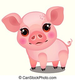 Little animated pig isolated on white background. Sample of poster, party holiday invitation, festive banner, card. Vector cartoon close-up illustration.