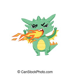 Little Anime Style Baby Dragon Pissed Off Breathing Fire Cartoon Character Emoji Illustration