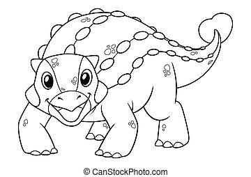 Little Ankylosaurus Cartoon Illustration BW