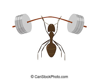 cartoon strong ant raises very heavy barbell