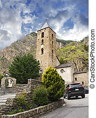 Little antique church in Andorra (Pyrenees)