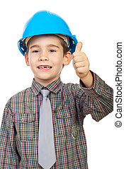 Little architect giving thumbs up