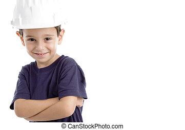 little architect wearing hardhat isolated on white ...