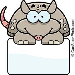 Little Armadillo Sign - A cartoon illustration of a little...